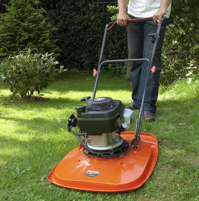 an orange hover lawn mower