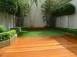 wood decking at the garden