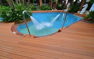 wood decking at the pool side