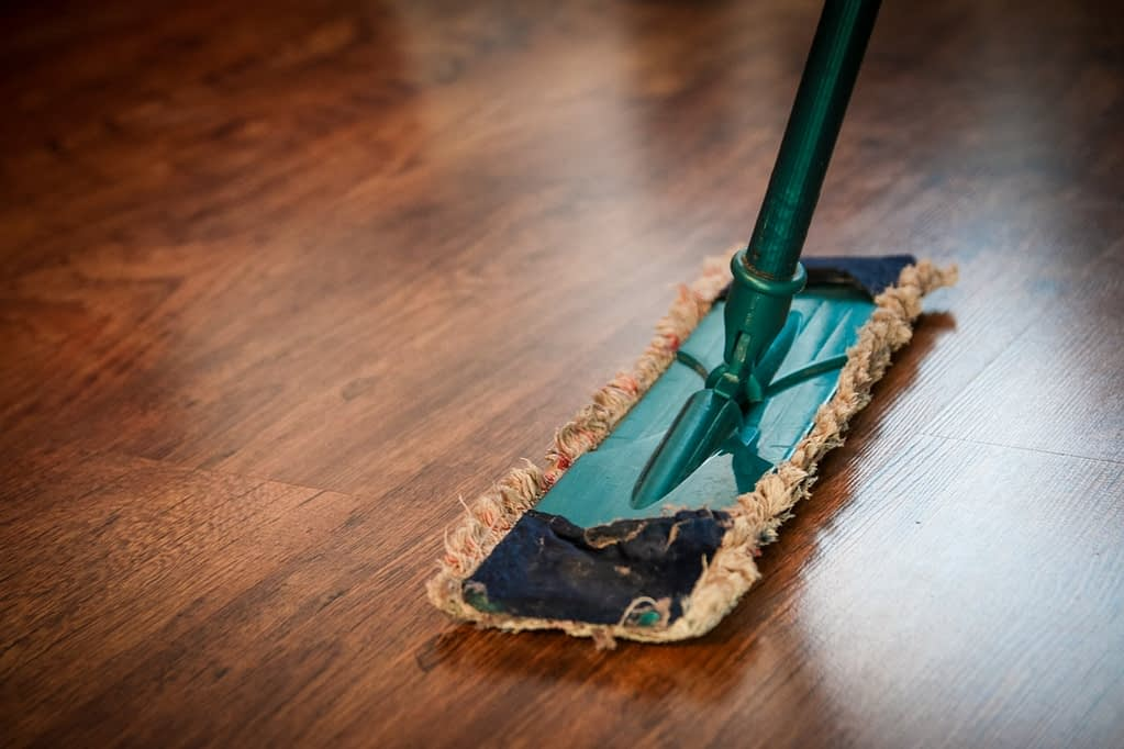 a mop on the wooden floor